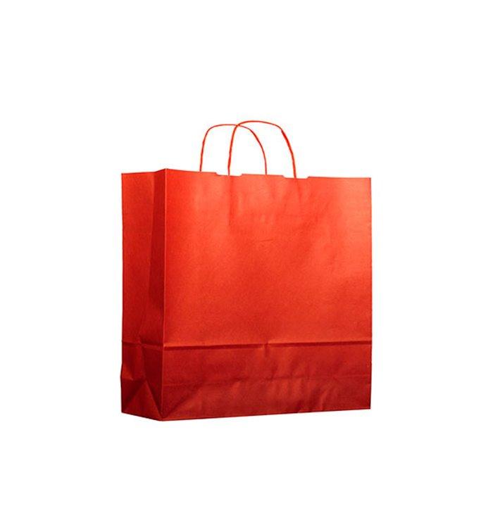 Bolsa Papel Kraft Roja con Asas 100g 22+9x23 cm (200 Uds)