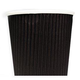 """Vaso Cartón 8 Oz/250ml """"Rizado"""" Negro Ø8cm (500 Uds)"""