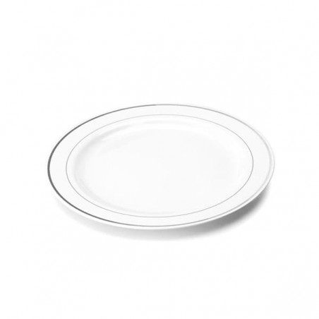 Plato de Plastico extrarigido con Ribete Plata 19 cm (20 Uds)