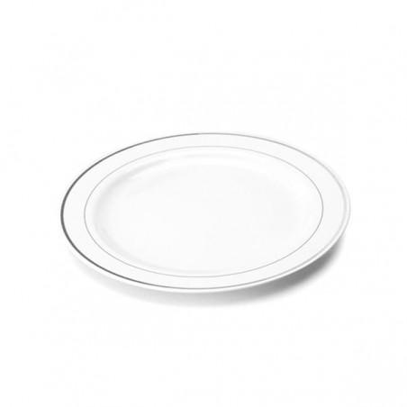 Plato de Plastico extrarigido con Ribete Plata 23 cm (200 Uds)