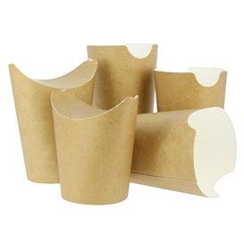 Vaso Antigrasa Carton Efecto Kraft con Solapa 14Oz/420ml (50 Uds)