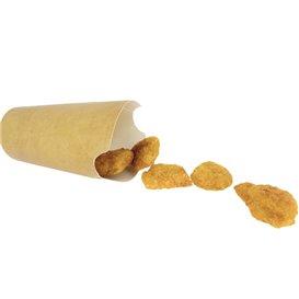 Vaso Antigrasa Carton Efecto Kraft con Solapa 14Oz/420ml (1000 Uds)