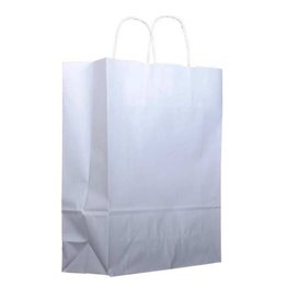 Bolsa Papel Kraft Blanca con Asas 100g 22+11x27 cm (200 Uds)