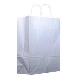 Bolsa Papel Kraft Blanca con Asas 100g 22+11x27 cm (25 Uds)