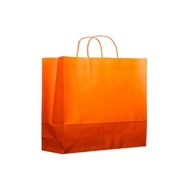 Bolsa Papel Naranja con Asas 80g 20+10x29 cm (25 Uds)