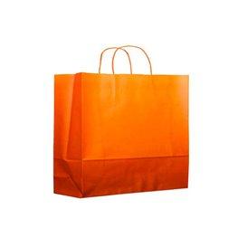 Bolsa Papel Naranja con Asas 80g 20+10x29 cm (200 Uds)