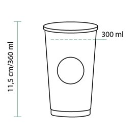 "Vaso Cartón 12 Oz/360ml ""Specialty to go"" Ø8,0cm (1100 Uds)"