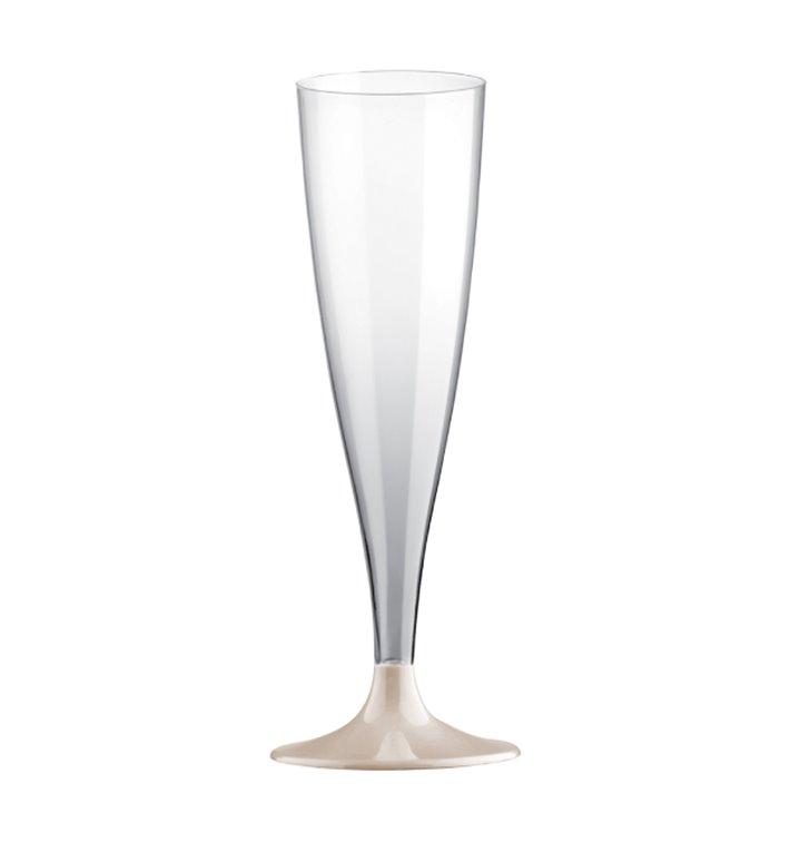 Copa Plástico Reutilizable Cava Pie Gris 140ml 2P (6 Uds)