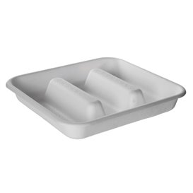 Envase para Tacos de Caña de Azúcar Blanco 18,5x18,5cm (50 Uds)