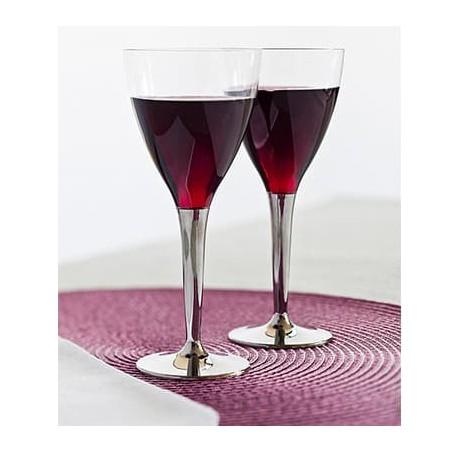 Copa de Plastico Vino Pie Plata 130ml (10Uds)
