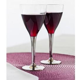 Copa de Plastico Vino Pie Plata 130ml (100Uds)