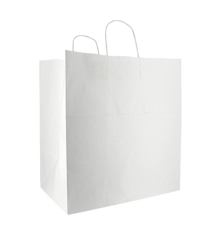 Bolsa Papel Blanca con Asas 100g/m² 36+24x39cm (50 Uds)