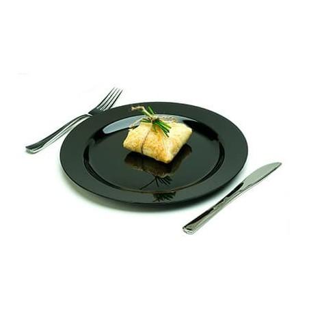 Plato Plastico Extra Rigido Negro Comida 15cm (20 Uds)