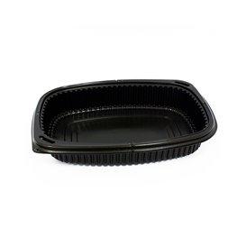 Envase Rectangular PP Negro 800ml 215x170x40mm (320 Uds)