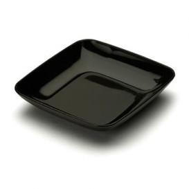 Plato Plastico Cuadrado Degustacion Negro 6x6x1 cm (50 Uds)