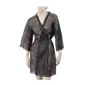 Bata Kimono en TST PP Con Cintas y Bolsillo Negro XL (100 Uds)