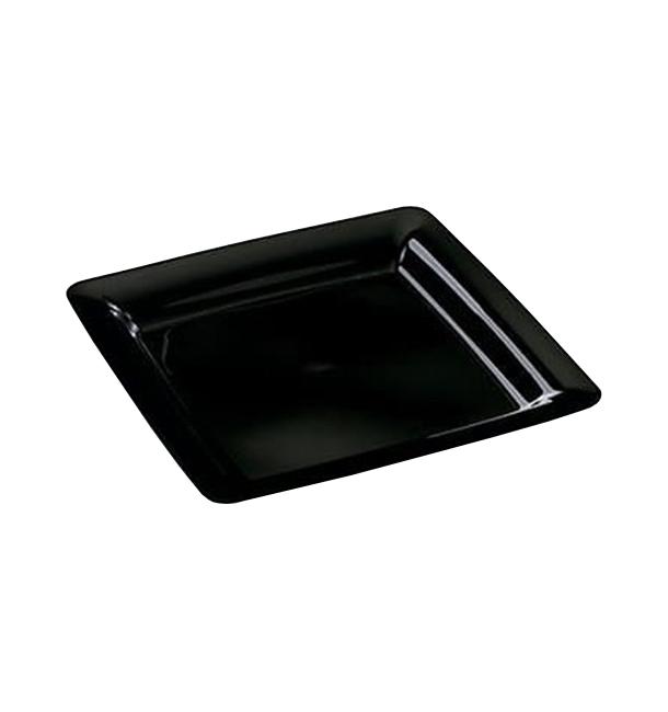 Plato Reutilizable PS Cuadrado Extra Rigido Negro 22,5x22,5cm (20 Uds)