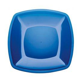 Plato Llano Reutilizable PS Azul Transp. Square 30cm (12 Uds)