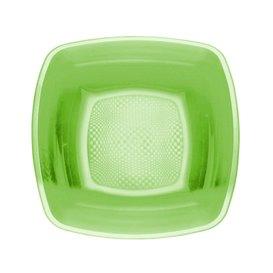 Plato Hondo Reutilizable PP Verde Lima Square 18cm (25 Uds)