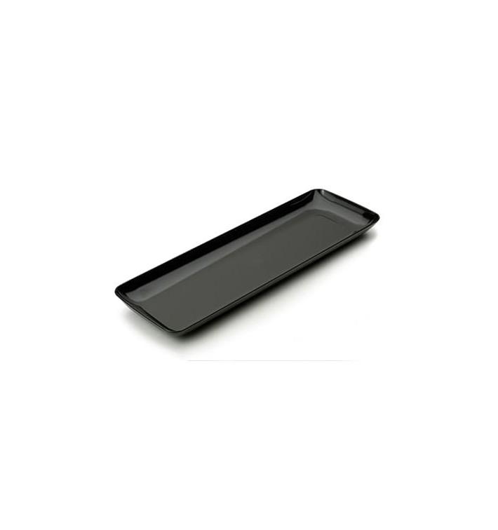 Plato Plastico Rectangular Degustacion Negro 6x19 cm (20 Uds)