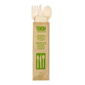 Set de Cubiertos de Madera Desechable Tenedor, Cuchillo, Cuchara y Servilleta (250 Uds)