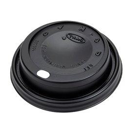 Tapa Travel con Agujero PS para Vaso Foam y Cartón Negra Ø8,1cm (100 Uds)
