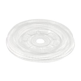 Tapa Plana PLA Transparente con Agujero Ø7,8cm (100 Uds)