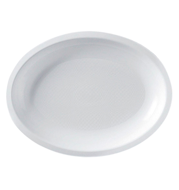 Bandeja Reutilizable PP Ovalada Round Blanca 25,5x19cm (600 Uds)