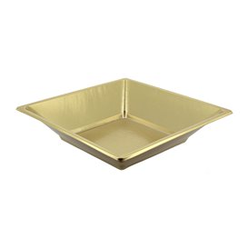 Plato de Plastico Hondo Cuadrado Oro 180mm (25 Uds)