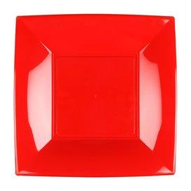 Plato Llano Reutilizable PP Rojo Nice 18cm (300 Uds)