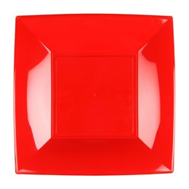 Plato Llano Reutilizable PP Rojo Nice 23cm (25 Uds)