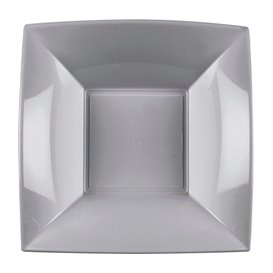 Plato Hondo Reutilizable PP Gris Nice 18cm (300 Uds)