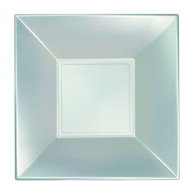 Plato Hondo Reutilizable PP Plata Nice Pearl 18cm (300 Uds)