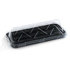 Bandeja Plastico Catering Rectang. Negra 35X16 cm (50 Uds)