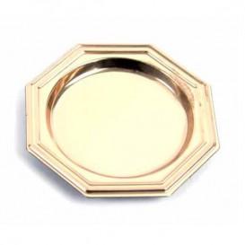 Mini Plato de Plastico para Postre Octogonal Oro 8 cm (1000 Uds)