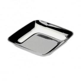 Plato Plastico Cuadrado Degustacion Plata 6x6x1 cm (50 Uds)
