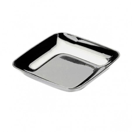 Plato Plastico Degustacion Plata 6x6x1 cm (50 Uds)