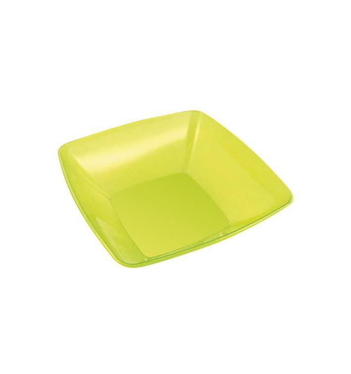 Bol de Plastico Cuadrado Verde 14x14cm (60 Uds)
