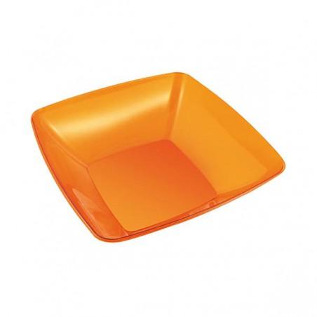 Bol de Plastico Cuadrado Naranja 14x14cm (4 Uds)