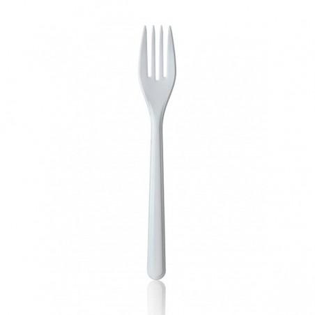 Tenedor de Plastico Premium Blanco 185mm (1.000 Uds)