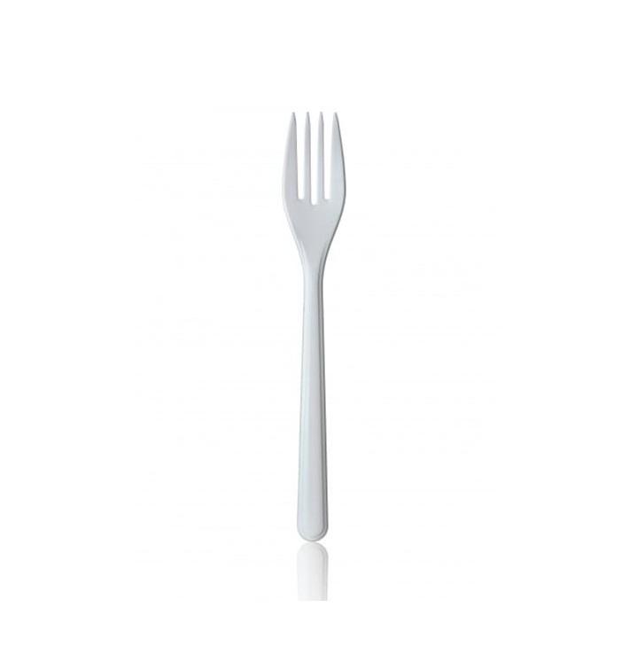 Tenedor de Plastico Premium Blanco 185mm (50 Uds)