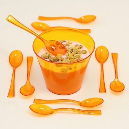Cuchara de Plastico Premium Naranja 160mm (10 Uds)