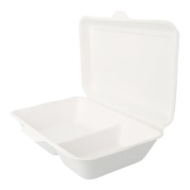 Envase MenuBox Caña Azúcar 2C Blanco 225x165x64mm (50 Uds)