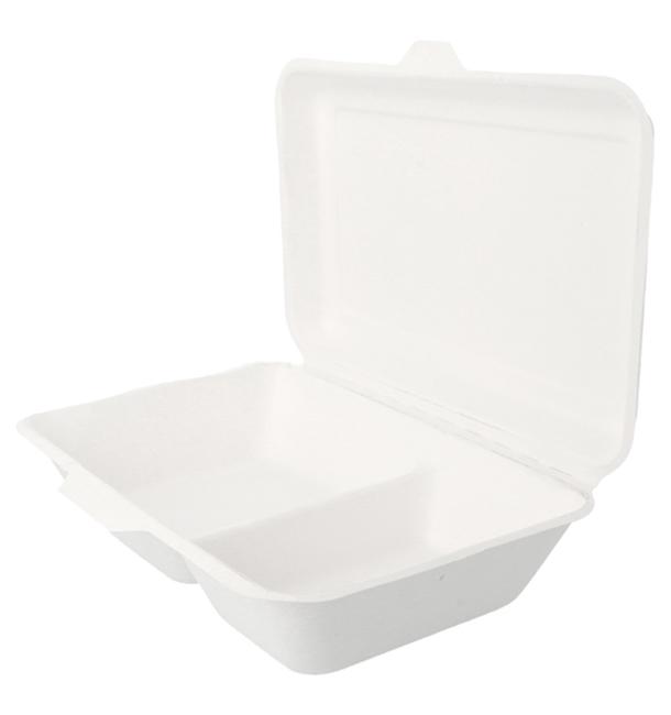 Envase MenuBox Caña de Azúcar 2 Comp. Blanco (50 Uds)