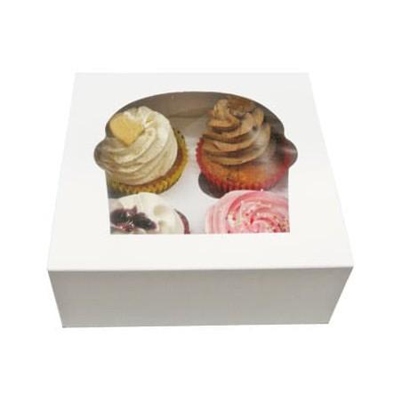 Caja con Soporte para 4 Cupcakes Blanco B-20 (Cajas de 140 Unida