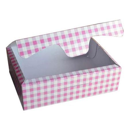 Caja para Pasteleria Carton 25,8x18,9x8cm 2Kg.  Rosa (125 Uds)