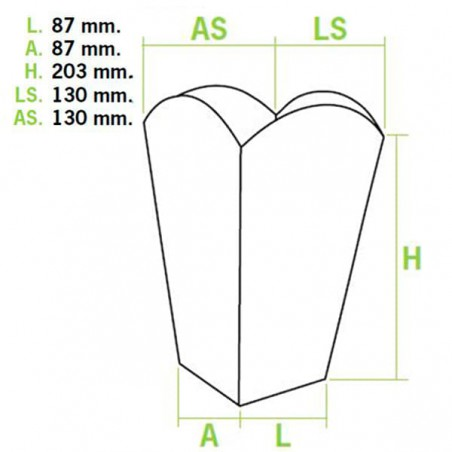 Caja Palomitas Grande 150 gr 8,7x13x20,3cm (250 Uds)