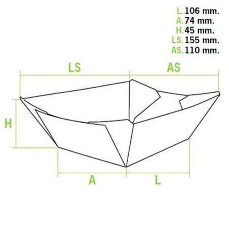 Barqueta 350ml Cartoncillo 15,6X13,2X3,6cm (50 Uds)