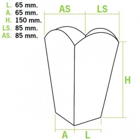 Caja Palomitas Pequeña Blanca 45 gr 6,5x8,5x15cm (700 Uds)