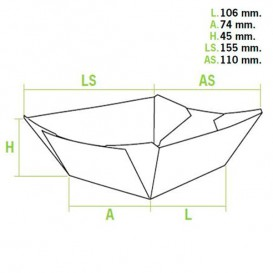 Barqueta 350ml Kraft 10,6x7,3x4,5cm (1000 Uds)